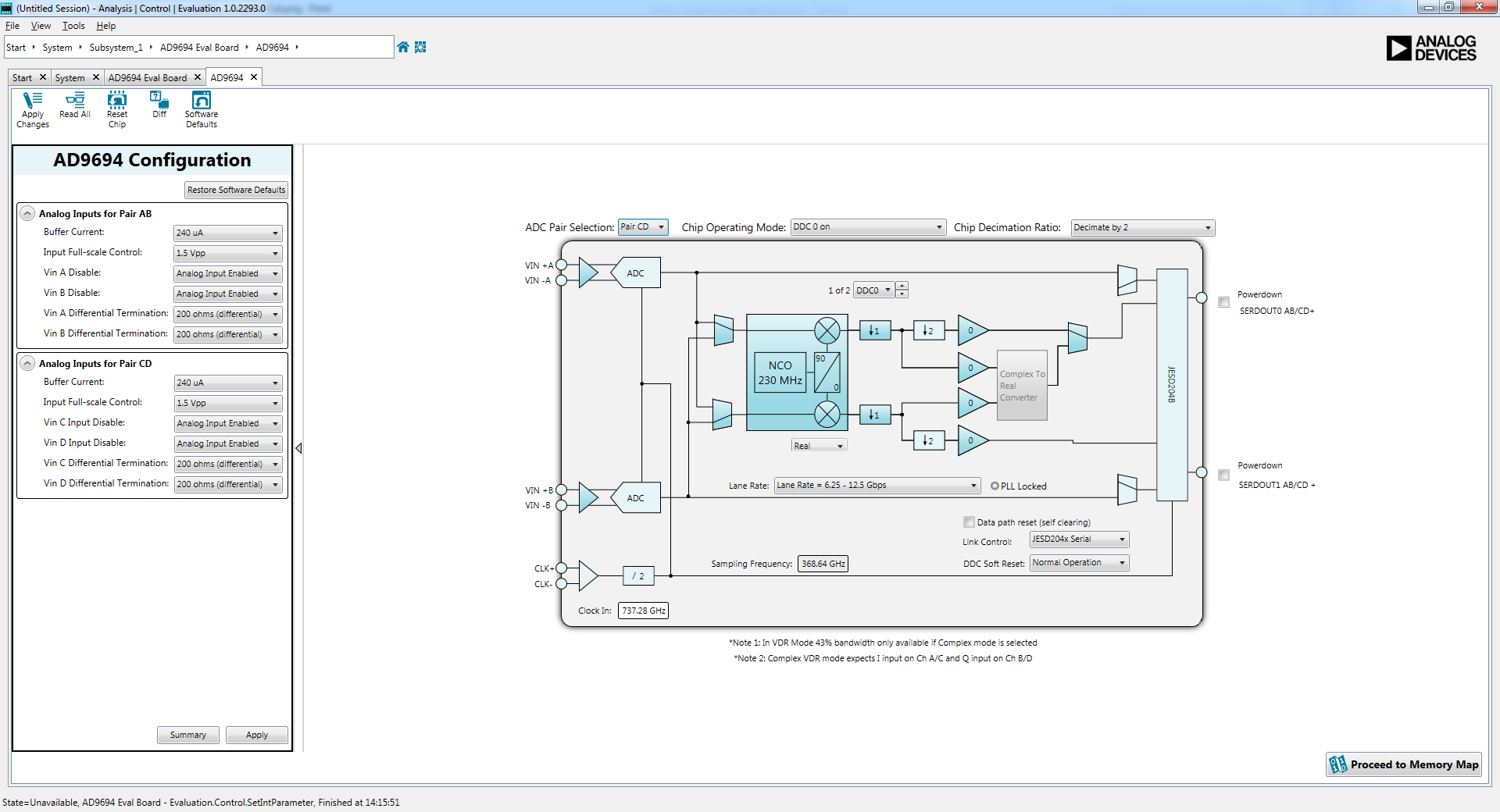 Evaluating The Ad9694 Quad Channel 500 Msps Adc Analog Devices Wiki Fig 2 System Hardware Block Diagram Modifications To Original Configure As Desired And Click Apply Changes In Upper Left Of Window This Should Be Done For Each Pair Ab Cd