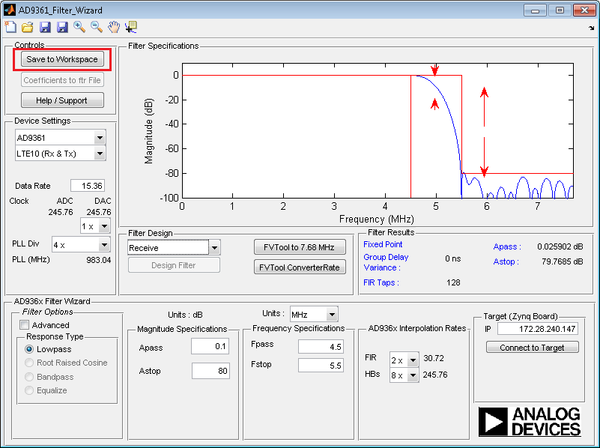 Matlab Filter Design Wizard For Ad9361 Analog Devices Wiki