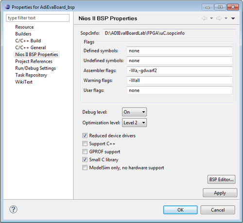 Create a new project using the NIOS II Software Build Tools