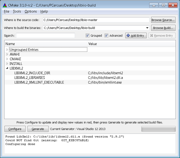 Building libiio in Visual Studio [Analog Devices Wiki]