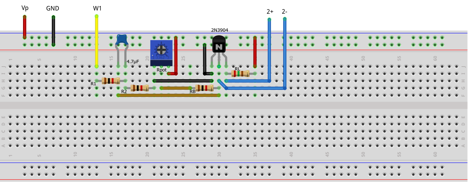 Activity 5 Common Emitter Amplifier Analog Devices Wiki Current Negative Feedback Voltage Divider Biasing Circuit Diagram Figure 2 Test Configuration Breadboard Connection