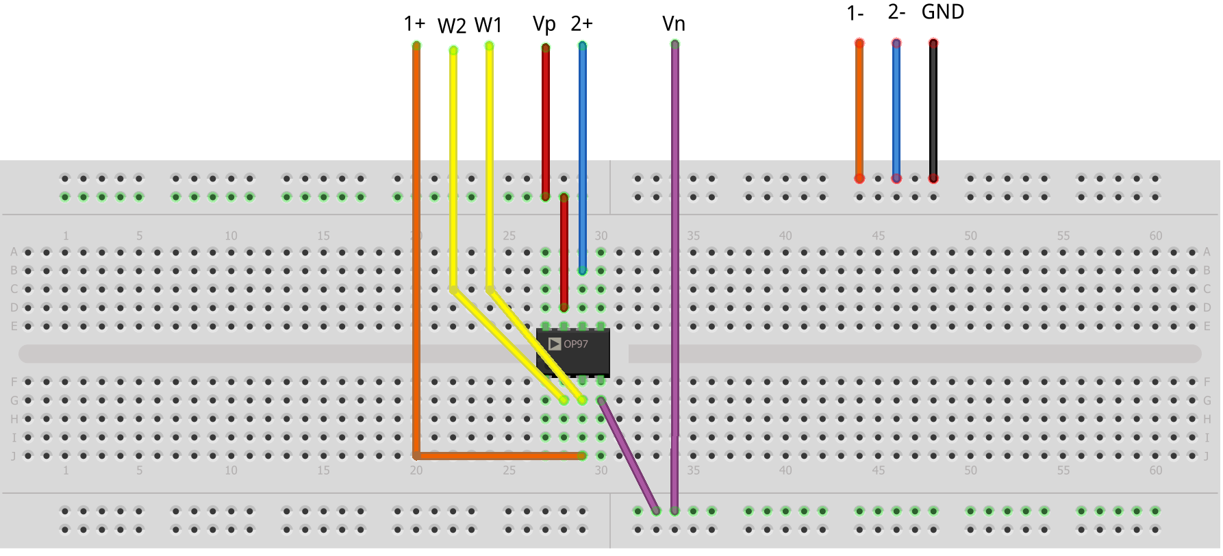 activity op amp as comparator [analog devices wiki]figure 2 comparator breadboard circuit