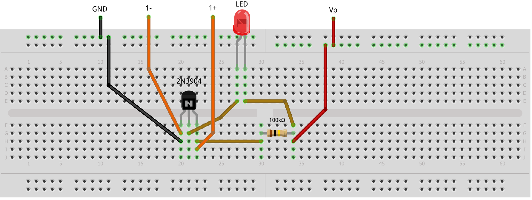 Activity Led As Light Sensor Analog Devices Wiki Improved Infrared Detector Circuit Figure 2 And Single Common Emitter Npn Breadboard