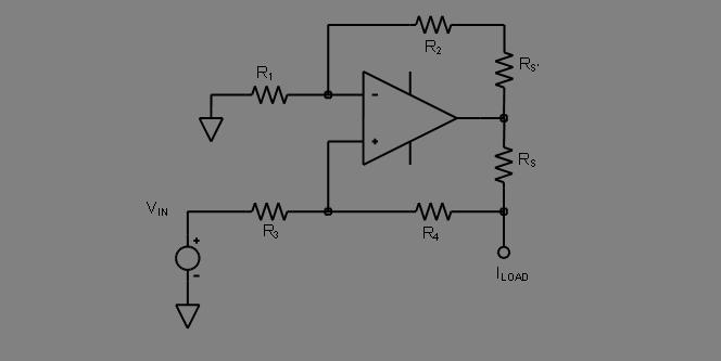 operational amplifier active voltage to current converter formula