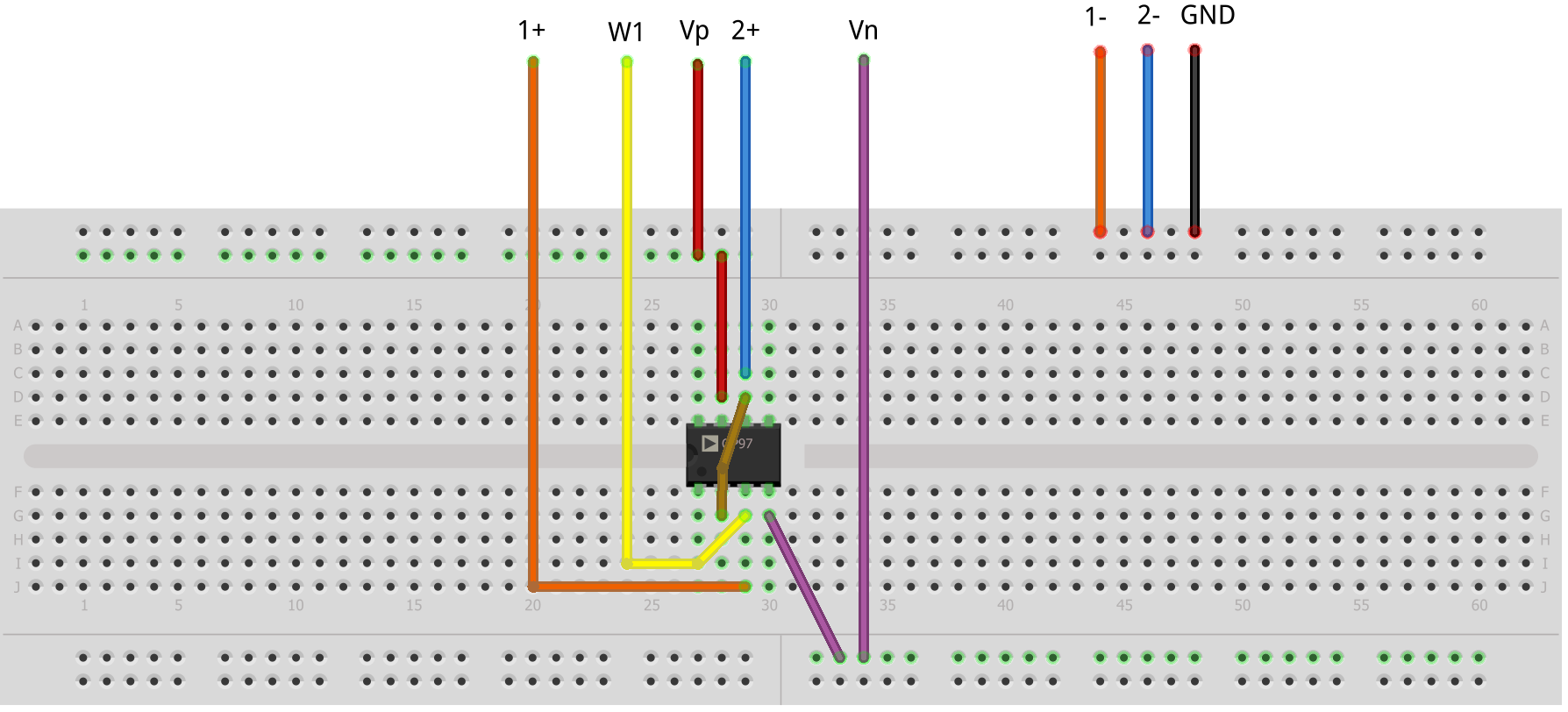 Figure 1.3. Unity Gain Follower Breadboard Circuit