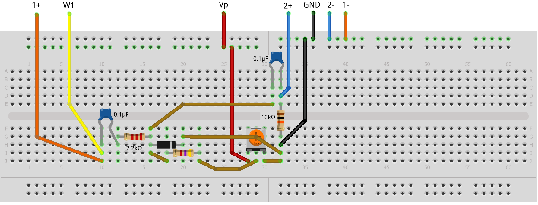 Activity 2 Diode I Vs V Curves Analog Devices Wiki Circuit In Addition Led Light Emitting Further Rectifier Figure 22 Variable Attenuator Breadboard