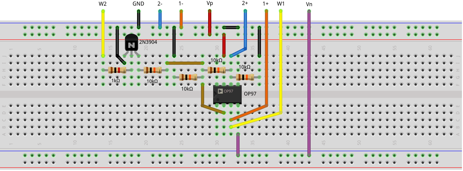 Initial Schematic Using Variable Resistors And A Summing Amplifier