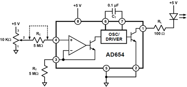 AD654 LED Flasher Lab [Analog Devices Wiki]