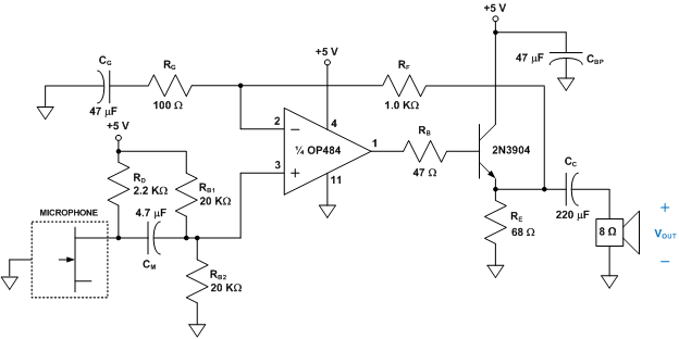 audio amplifier with electret microphone analog devices wiki rh wiki analog com