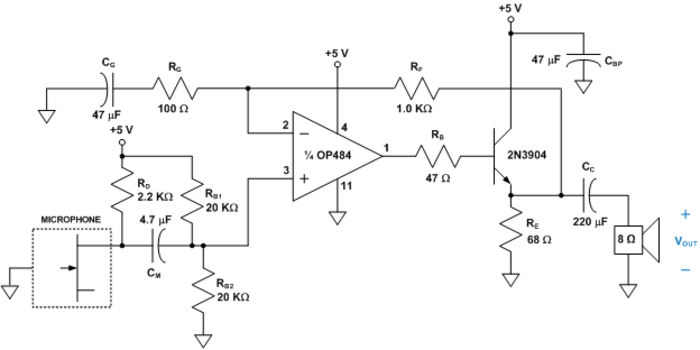 Audio Amplifier with Electret Microphone [Analog Devices Wiki]
